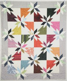Patchwork Quilt, Hunter's Star Lap or Child's Quilt, modern colourful quilt,  quilted throw