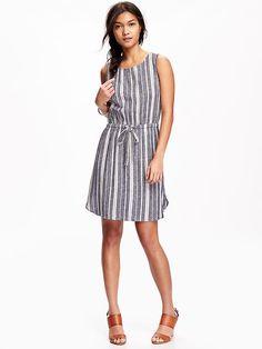 Linen Blend Tank Dress for Women Product Image