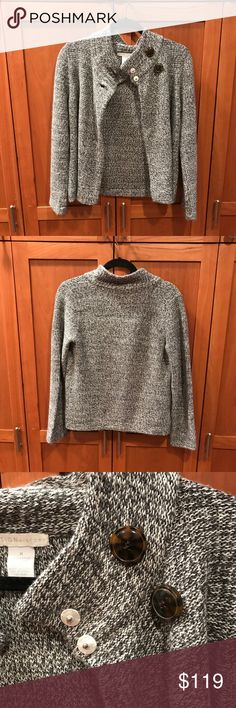 Design History Grey Sweater with button detail Trendy and comfortable grey sweater with button detailing. Originally from Saks 5th Avenue.  Brand new, never worn Design History Sweaters