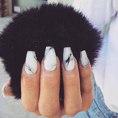 nails, black, and acrylics