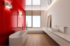 Very sleek and contemporary high gloss acrylic wall panels make a wow statement for a bathroom or shower wall. This image shows the red rouge color. These walls are less expensive and easier to work with than back painted glass. http://innovatebuildingsolutions.com/products/bathrooms/high-gloss-acrylic-wall-panels #backpaintedglass