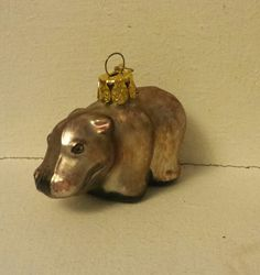 Blown Glass mini Hippo Christmas Tree Ornament Decoration or Bauble by ukbeadsonline on Etsy