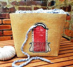 VINTAGE FRENCH WINDOW Knitting Crochet Craft Bag Storage Organiser Basket Unique Large Jute Hessian Burlap Natural Canvas Handmade Gift