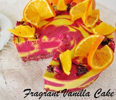 Another over the top creation from Fragrant Vanilla Cake: Raw Tangerine Hibiscus Cake - WOW!
