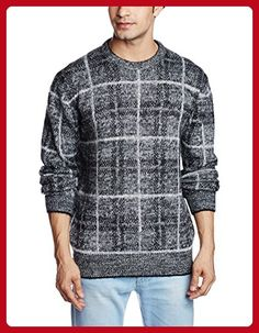 63fe9fbca85 French Connection Men's Maddox Check Sweater, Black, XX-Large - Mens world (