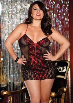 Plus Size Sequin Trim Chemise Lingerie, Red and Black BBW Chemise
