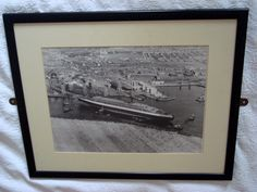 1930s Queen Elizabeth Cunard Line Ocean Liner Framed Black and White Monochrome Photograph by MullardAntiques on Etsy