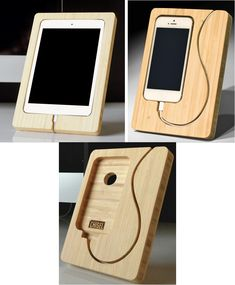 "These charging docks from iSkelter look like no others I've seen.  The Chisel docks for iPad mini, iPhone 4/4S, or iPhone 5 are made of bamboo.  Space for the device has been ""chiseled"" out of the ..."