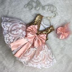 Peach and gold dress girls princess dress pageant dress Baby Birthday Dress, First Birthday Dresses, Baby Dress, Birthday Outfits, Pink Flower Girl Dresses, Little Girl Dresses, Girls Dresses, Flower Girls, Baby Pageant Dresses