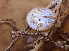Winter Moon Talisman Necklace + Winter Solstice + Vintage Ethnographic Gilgit Shell Button + Rainbow Moonstone, Labradorite, Pearls, Silk by DesertTalismans on Etsy