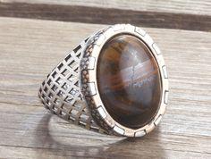 Men Ring 925 Silver, Tiger's Eye Stone Size 9-10-11 US Men's Gemstone Jewellery #IstanbulJewellery #Ring