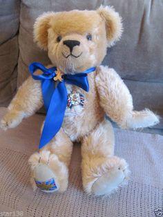 1990 Merrythought Diamond Jubilee Teddy Bear England Large Mohair ARTIST SIGNED