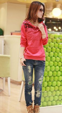 Korean Fashion Style Women Letters Hoodie - BuyTrends.com