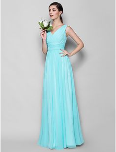 Floor-length Georgette Bridesmaid Dress A-line/Sheath/Column V-neck – EUR € 86.35