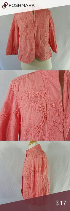 Chico's Peach Pink Open Front Jacket Size 1 (M) Peach Pink Color Lightweight 3/4 Sleeves Open Front (no closure on front) Floral textured fabric Bust is 38 inches Sleeve Length is 17 inches Length of jacket is 22 inches 100% Cotton Chico's Jackets & Coats