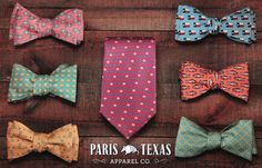 Texas Bow Ties by Paris Texas Apparel Co. Display your Texas Pride in style. www.paristexasco.com