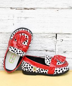 Seriously!? If only i knew what size b was going to be next Winter!!!!!!!!! : Cherry & Black Spot Tassel Loafer by foxpaws on #zulily today!