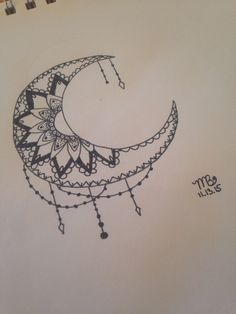 Crescent moon with mandala. Done by Mati Bickhard | Artwork Ideas ...