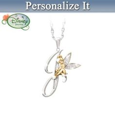 Tinker Bell Initial Pendant Necklace #Disney