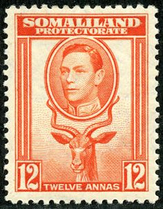 """1912 Scott 58 light blue & black """"George V"""" Quick History The Somaliland Protectorate (British Somaliland) bordered on the Gulf of A. Empire, Old Stamps, British Colonial, King George, Stamp Collecting, American Indians, Postage Stamps, The Past, History"""