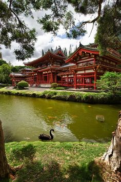 Although located in Hawaii, the original design originates from the Byodo-In temple in Japan. Also known for its Phoenix Hall, as it is believed to model after the body of a phoenix, Byodo-In is one of my own personal favorite works of architecture. I am in awe that its creators aimed to model a heaven on earth, implementing both the landscape and red-painted wood.