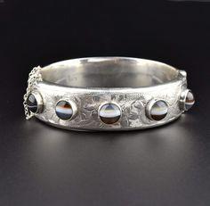 Banded Agate Vintage Engraved Silver Bracelet  #intage #Band #Engraved #Vintage #Agate #Bracelet #Silver #English #Sterling #Shop