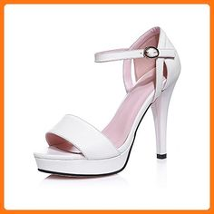 638e3e418b Amazon.com | AmoonyFashion Women's Peep-Toe High-Heels Soft Material Solid  Buckle Sandals | Sandals