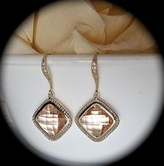 Champagne earrings  Peach  Cubic zirconia  by QueenMeJewelryLLC, $32.99