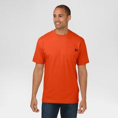 Dickies Men's Cotton Heavyweight Short Sleeve Pocket T-Shirt- Orange S