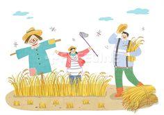 사람, 남성, 여자, 여성, 어린이, 라이프, 청소년, 아빠, 아버지, 가족, 시골, 남자, 농장, 농촌, 딸, 수확, 생활, 일러스트…