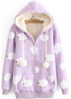 Buy Hooded Sheep Print Pockets Purple Sweatshirt from abaday.com, FREE shipping Worldwide - Fashion Clothing, Latest Street Fashion At Abaday.com Pastel Goth Fashion, Kawaii Fashion, Lolita Fashion, Cute Fashion, Fashion Outfits, Harajuku Fashion, Japan Fashion, Outfits Clueless, Mode Lolita