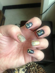 """@OPI Nail GelColor """"Black Onyx"""" """"GoldenEye"""" """"When Monkeys Fly"""" & """"Which is Witch""""   Nails by Brittany  #OPIGelColorGlitterCoat"""