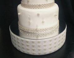 Drape design wedding cake stand Ivory Pearl by CrystalWeddingUK
