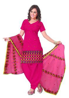 Unstitched Phulkari Suit Piece Cotton Silk- Pink