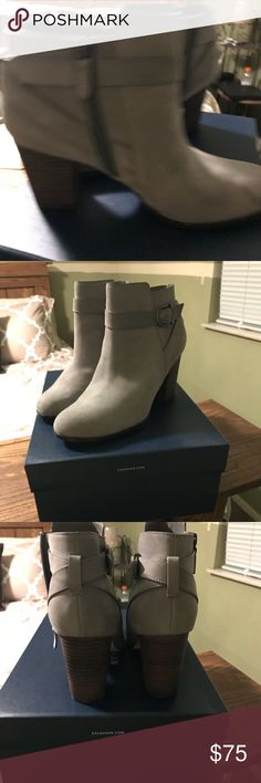 Cole Haan ankle boots. Gray suede, 9 1/2 B. Gray suede Cole Haan, 9 1/2 B ankle boots. I've never worn them. Was a x-mad gift but I got a black pair also. Love these boots. Husband bought them at The Nordstrom Rack. Shoes Ankle Boots & Booties