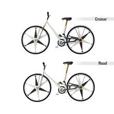 Cykla by Mika Becktor, via Behance  Multiple bikes in one!  Love the wheels.