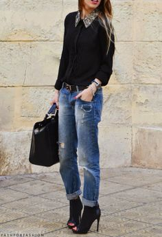 I just love the casual jeans with heels look, always a winner!