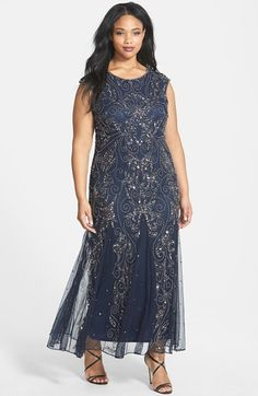 Pisarro Nights Embellished Cap Sleeve Gown (Plus Size) Mob Dresses, Dressy Dresses, Plus Size Dresses, Plus Size Outfits, Bridesmaid Dresses, Dresses With Sleeves, Bride Dresses, Plus Size Flapper Costume, Cap Sleeve Gown