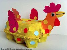 Egg carton rooster craft for children. Kids Crafts, Preschool Crafts, Projects For Kids, Diy For Kids, Diy And Crafts, Craft Projects, Arts And Crafts, Creative Crafts, Craft Ideas