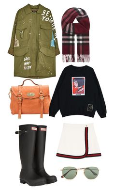 """Без названия #8"" by lidiya-yurtaeva on Polyvore featuring мода, Gucci, Hunter, Mulberry, Burberry и Ray-Ban"