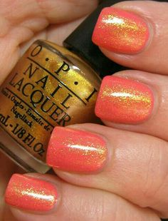 "Glitter Nails Gold over Coral ~ Mary Wald's Place - Liesl Loves Pretty Things: OPI Euro Centrale Suzi's Hungary AGAIN! + OY- Another Polish Joke ( love his sheer gold ""Oy- another polish joke"") Get Nails, Fancy Nails, Love Nails, How To Do Nails, Pretty Nails, Opi Nail Polish, Nail Polish Colors, Manicure Y Pedicure, Tips & Tricks"