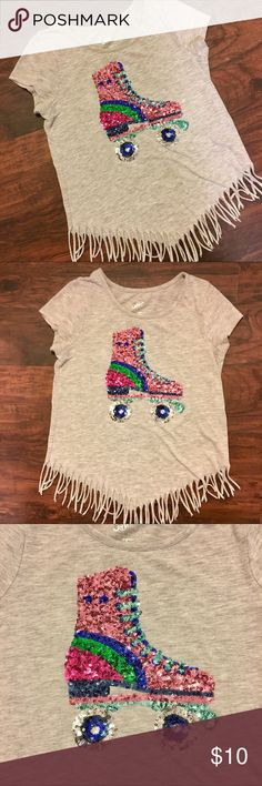 Justice 10 Girls Sequin Roller Skate Shirt Fringed Justice - Size 10 - Awesome Sequin Fringe Roller Skate T Shirt - Bundle to save! 💗💚💙💗💚💙 Justice Shirts & Tops Tees - Short Sleeve