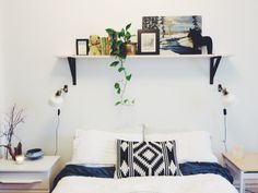 DIY Simple Shelf Over The Bed