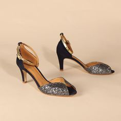 JOLENE Glitter Smoke & Navy | Emma Go My Emma, Long Toes, Summer Parties, Signature Style, Your Shoes, Ankle Strap, Peep Toe, Spring Summer, Glitter