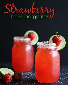 An easy and delicious beer margarita prepared with tequila, light beer, strawberry daiquiri concentrate, lemon-lime soda and lime juice. Party Drinks, Cocktail Drinks, Fun Drinks, Beer Mixed Drinks, Cocktail Recipes, Drink Recipes, Burger Bar, Beer Margaritas, Tequila