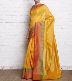 Yellow Cotton Silk Handloom Banarasi Saree
