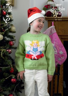 Childrens Christmas jumper pattern Chrismtas Fairy jumper Sweaters - King Cole Christmas Knitting