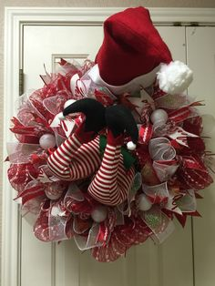 Elf in the door deco mesh wreath by Twentycoats Wreath Creations (2015)