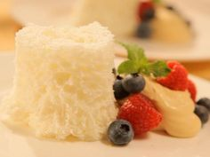 Minute Angel Food Cake with Fresh Berries and Caramel Whipped Cream : Recipes : Cooking Channel Recipe For Chocolate Mug Cake, Chocolate Mug Cakes, Easy Microwave Desserts, Microwave Cake, Recipes With Whipping Cream, Cream Recipes, Yummy Eats, Yummy Food