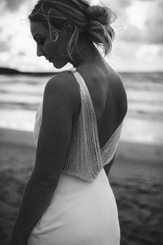 Sunset, black and white bridal portrait. Beaded back wedding dress. White Bridal, Photography Portfolio, Bridal Portraits, Backless, Sunset, Black And White, Wedding Dresses, Colors, Fashion